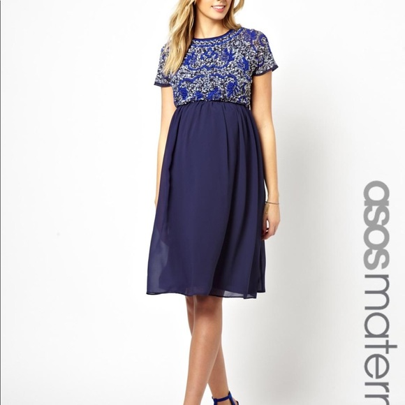 4d3a14f750f23 ASOS Maternity Dresses & Skirts - ASOS Maternity Navy Sequin Embellished  Dress